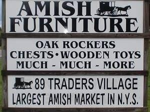 שלט טיפוסי בחנות בכפר איימיש