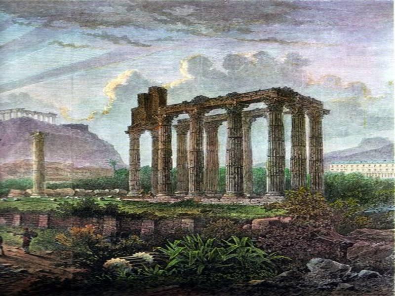 הריסות אתונה. ציור: אלברט ריגר מ-1870