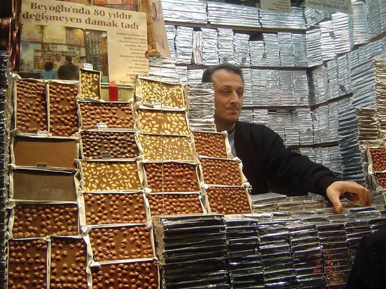 דוכן ממתקים בשוק באיסטנבול. צילמה: יונית קמחי