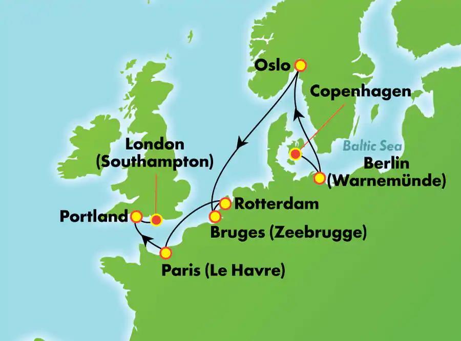 מסלול ההפלגה שייט לצפון אירופה
