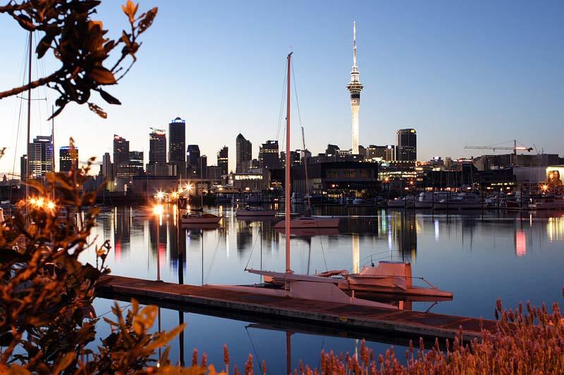 Skyline of Auckland, New Zealand, from Westhaven Marina