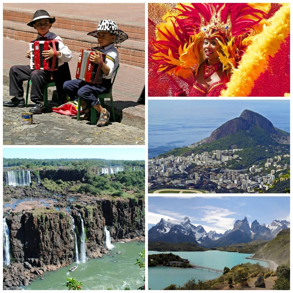 דרום אמריקה קולאז', ארגנטינה, צ'ילה, ברזיל, קרדיט תמונות: Pixabay