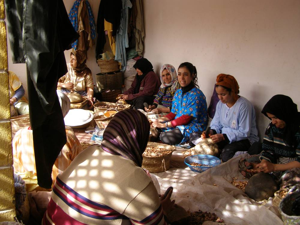 נשים ברבריות בהכנת שמן מרוקאי, צילום: אלי ממן